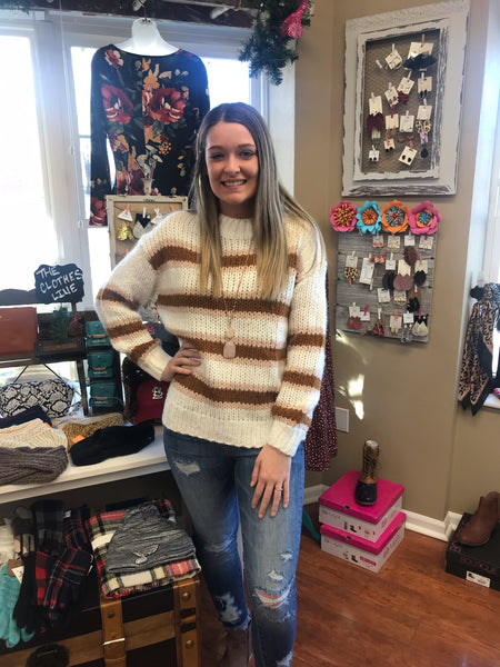 Cream Stripe Mock Sweater