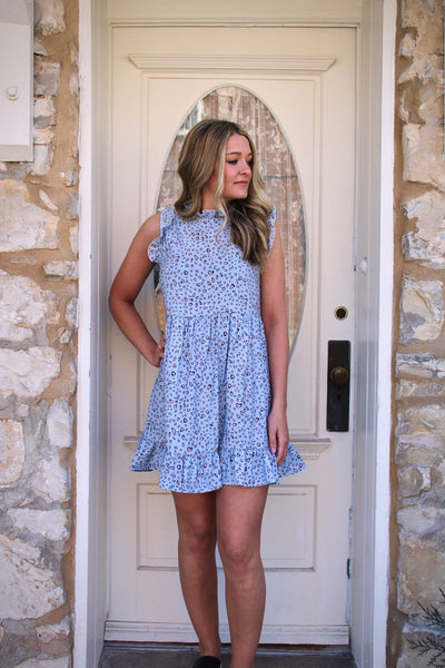 Blue Animal Print Babydoll Dress