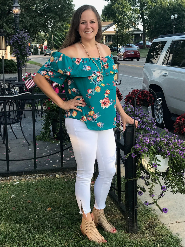 Jade Floral Off The Shoulder Top