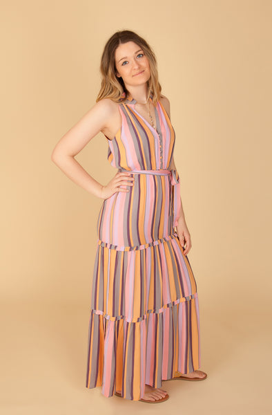Multi Striped Maxi Dress