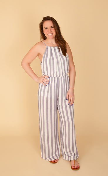 Blue Stripe Halter Jumpsuit