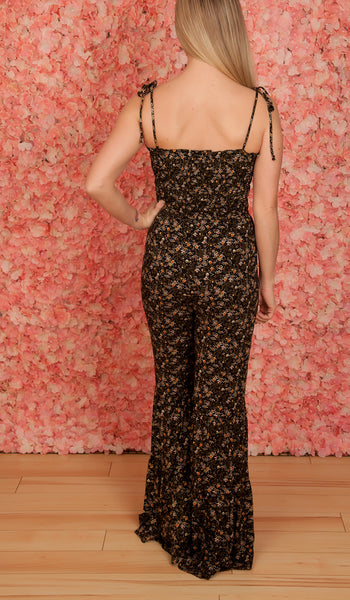 Black Floral Smocked Jumpsuit