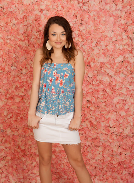 Blue Floral Pin Tuck Tank