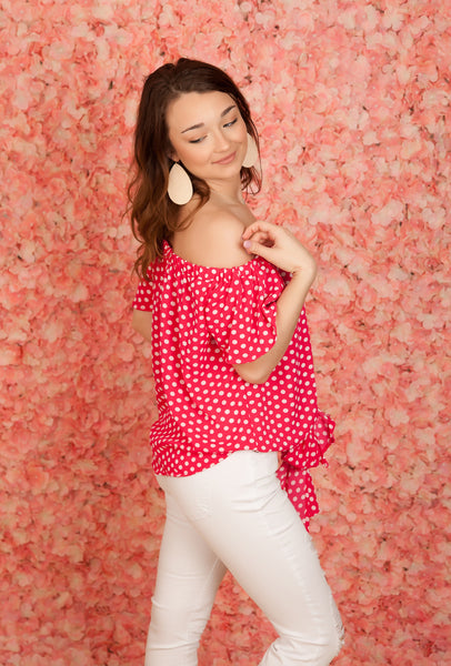 Fuchsia Polka Dot Off Shoulder