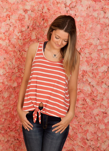 Striped Front Tie Tank