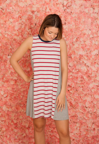 Red Stripe Banded Dress