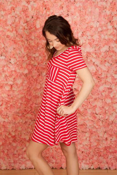 Red Stripe Weekend Dress