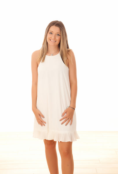 Off White Pleated Cami Dress