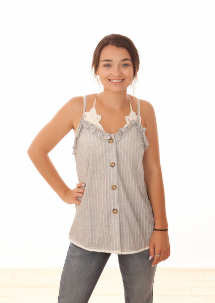 Grey Button Down Cami