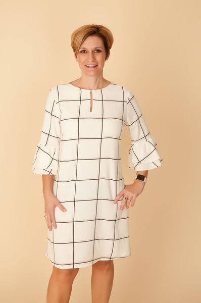 Cream Plaid Woven Dress