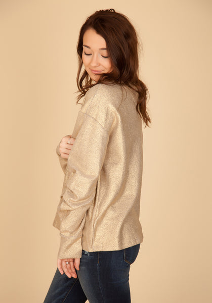 Gold Tucked Sleeve Sweatshirt