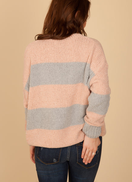 Blush & Grey Stripe Chenille