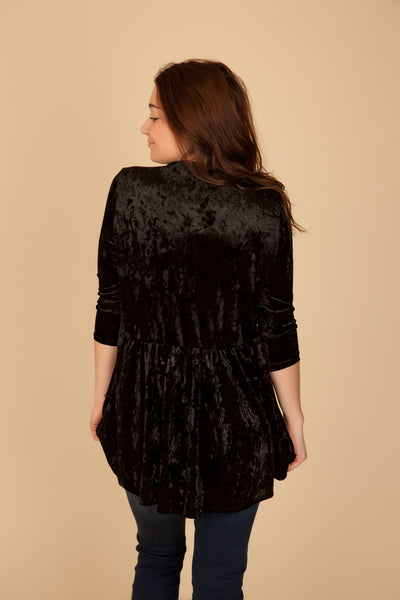 Black Velvet Babydoll Top