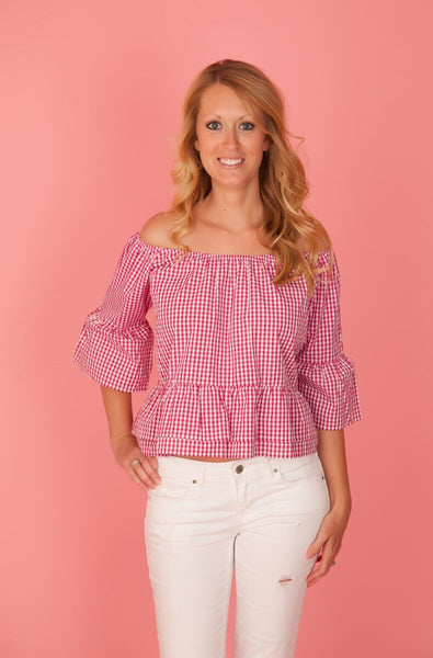 Pink Gingham Off the Shoulder