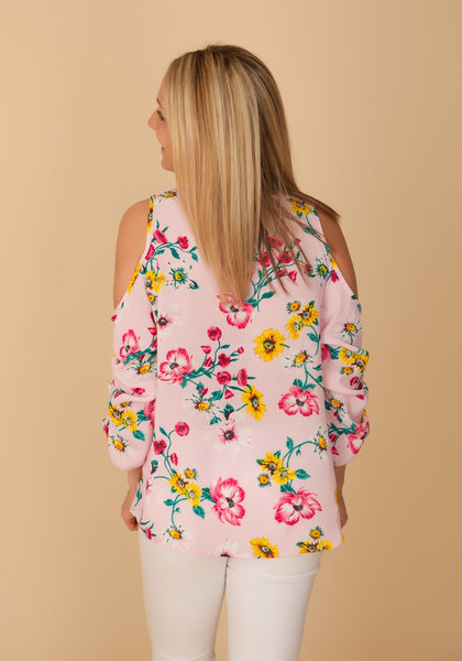 Pink Floral Cold Shoulder Top