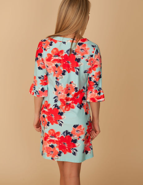 Aqua & Red Floral Shift Dress