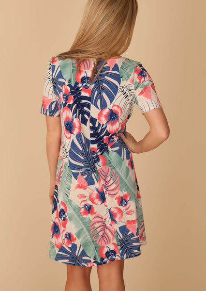 Beige & Coral Tropical Swing Dress