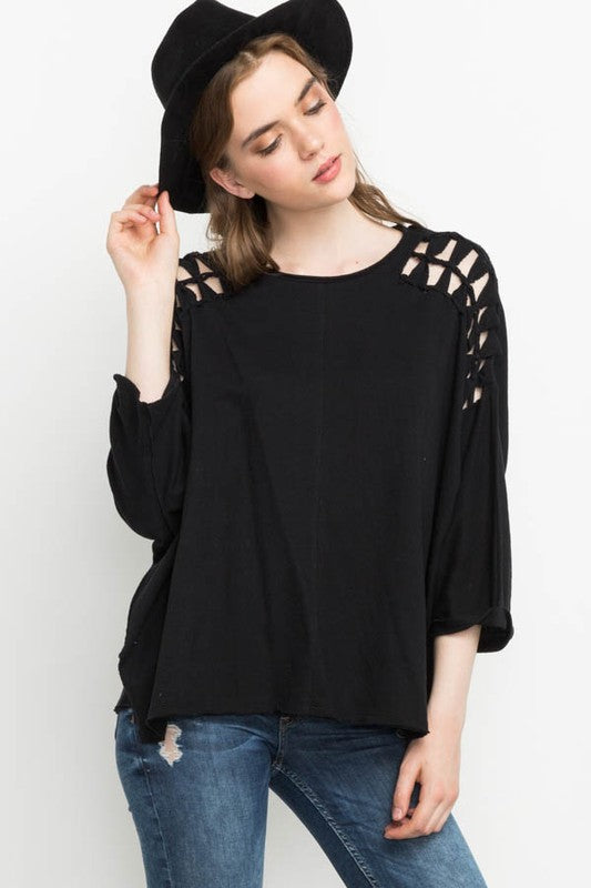 Black Shoulder Cut Outs Top