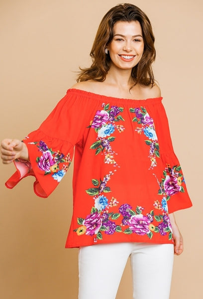 Red Floral Off Shoulder