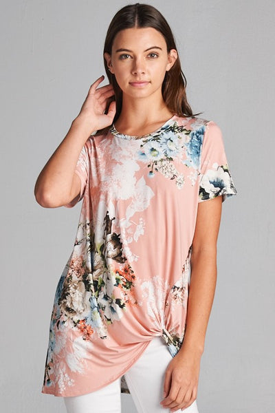 Dusty Pink Floral Side Knot Top