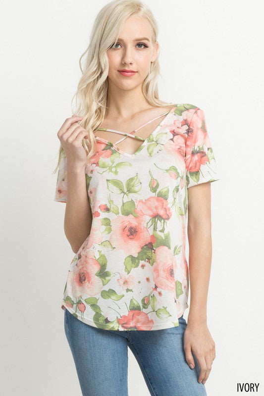Ivory Floral Criss Cross Top