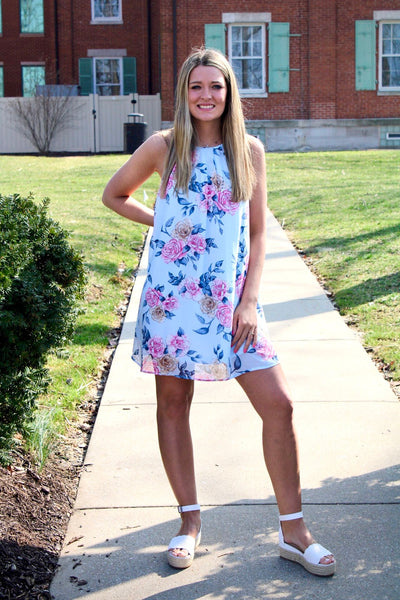 Blue Floral Halter Dress