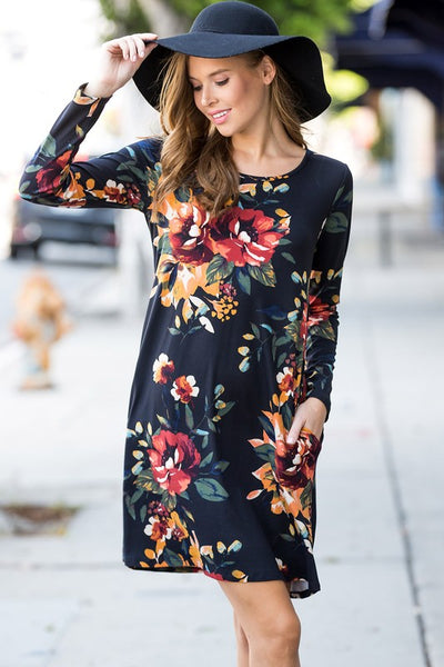 Black Floral Swing Dress
