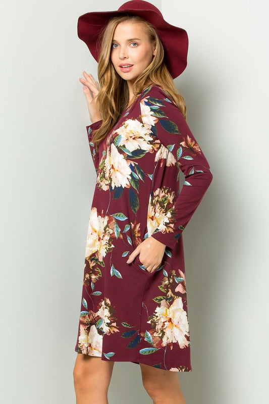 Burgundy Floral Swing Dress
