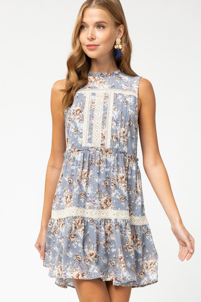 Dusty Blue Pintuck Dress