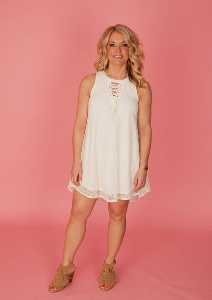 Ivory Tie-Up Lace Dress