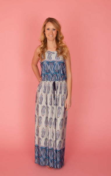 Blue & Purple Paisley Maxi