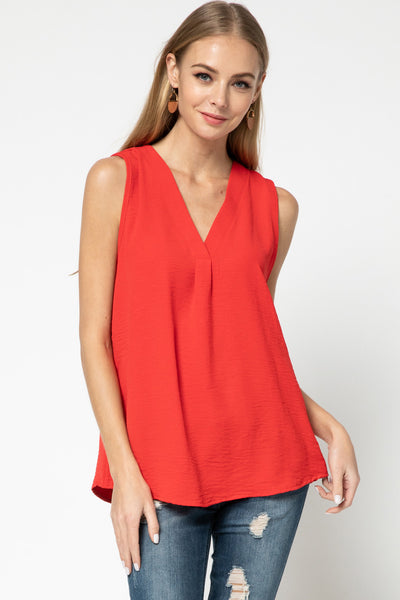 Red Everyday Sleeveless Top