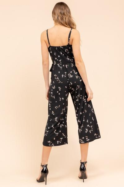Black Floral Cropped Jumpsuit