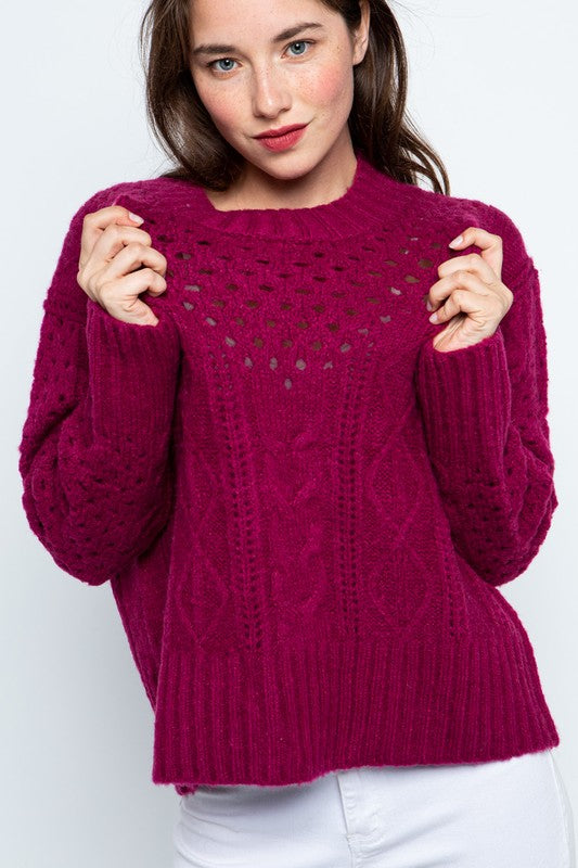 Berry Cable Knit