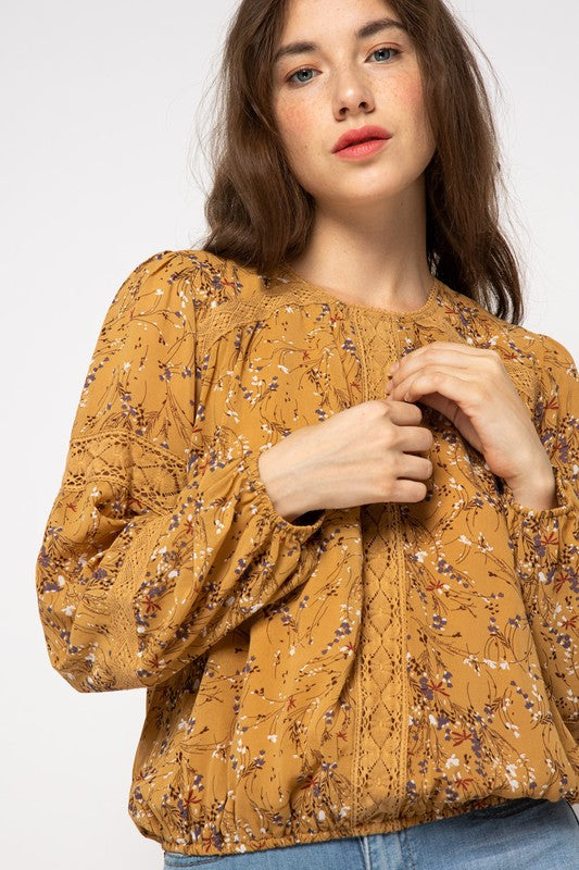 Golden Mustard Lace Top