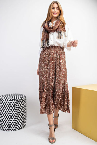 Coffee Pleated Skirt