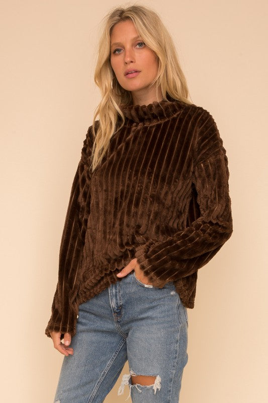Brown Faux Fur Top
