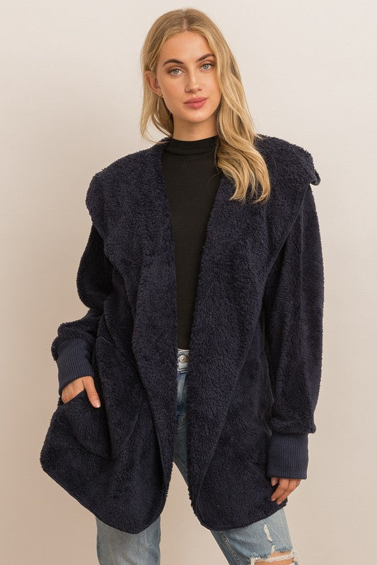 Navy Faux Fur Jacket