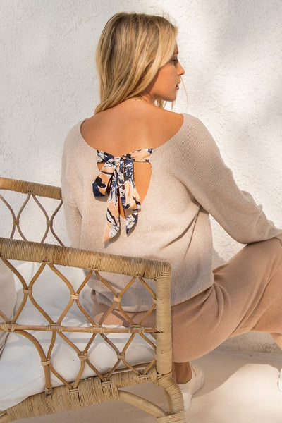 Satin Bow Back Sweater