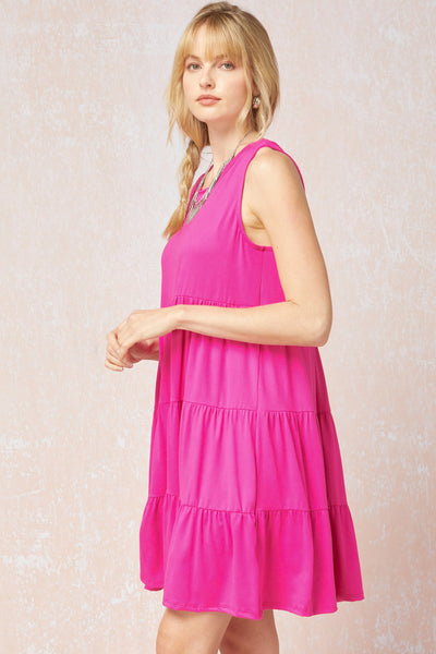 Hot Pink Tiered Dress