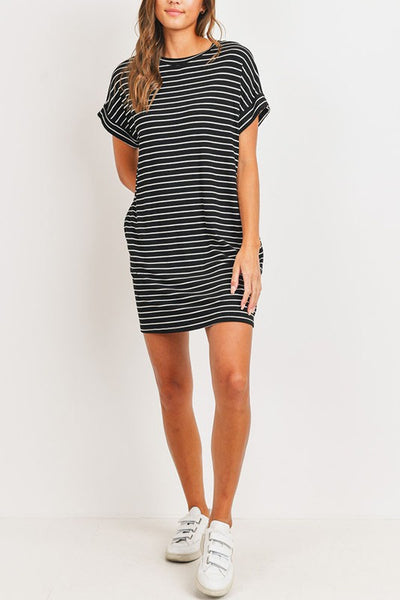 Black Stripe Knit Dress