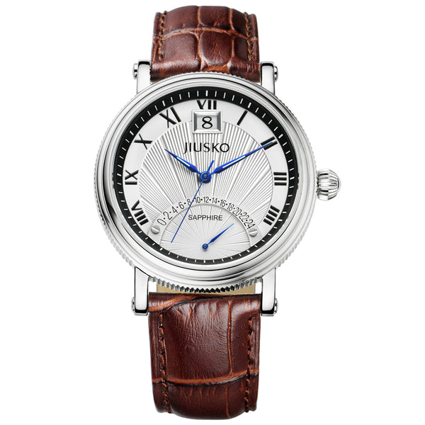 Jiusko Watch,Men's-Dress-Quartz-Leather-50m-103LS0107
