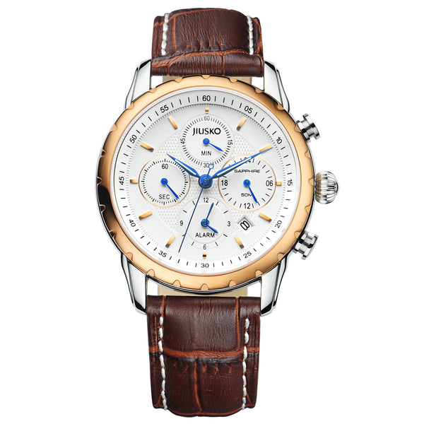 Jiusko Watch,Men's-Dress-Quartz-Leather-Casual-Fashion-Multi-Function-50m-113LRG0107