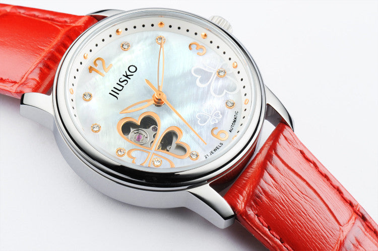 Jiusko Watch,Women-Dress-Fashion-Laether-Automatic-50m-119MS0111