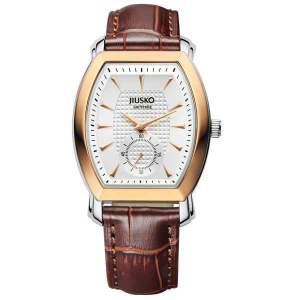 Jiusko Watch,Men's-Dress-Quartz-Leather-Fashion-Multi-Function-30m-121LRG0107