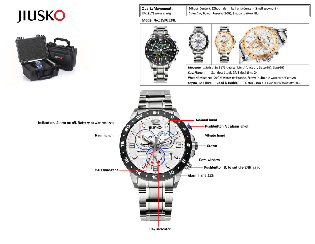 Jiusko Watch,Men's-Dress-Sport-Multi-Function-Quartz-Stainless Steel-300mm-128LSB01