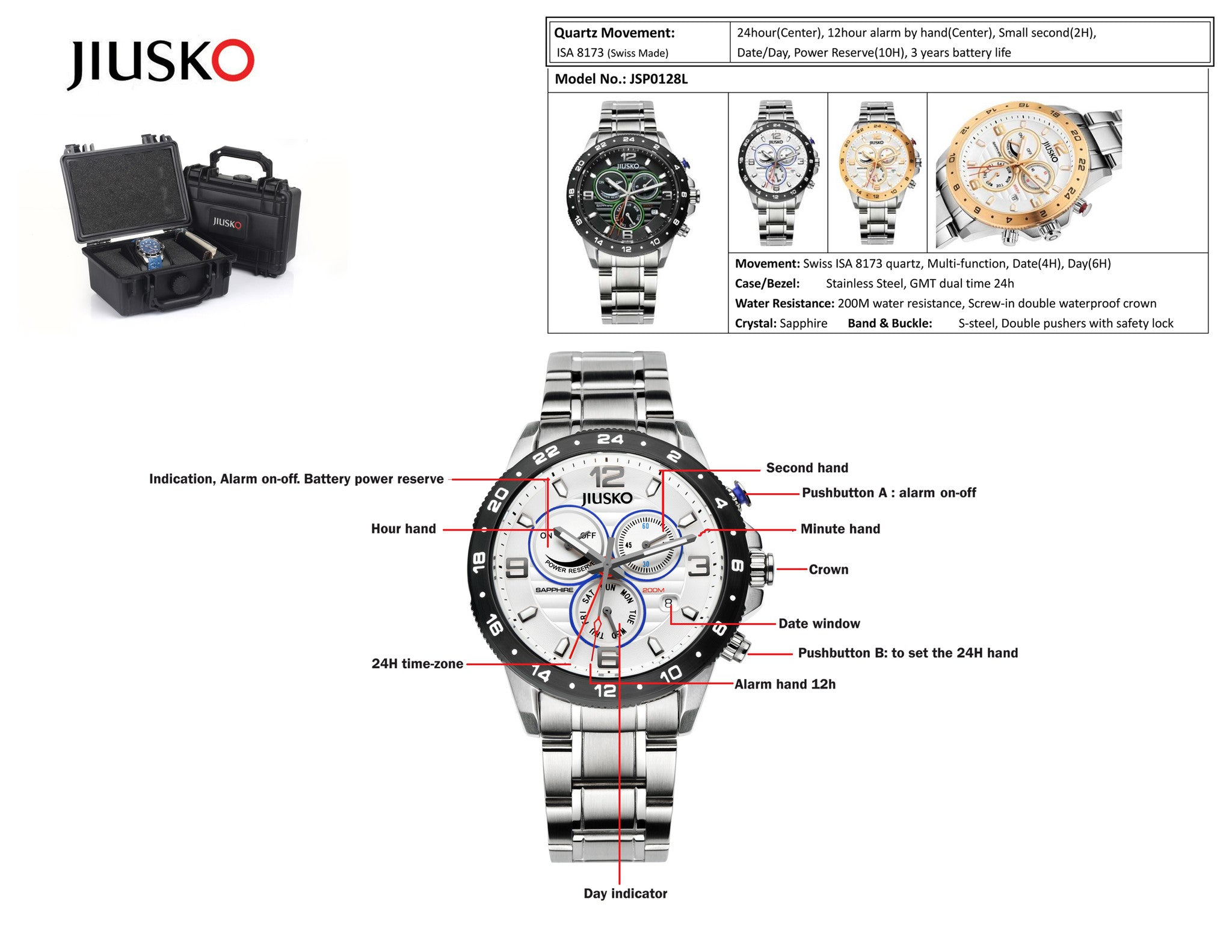 Jiusko Watch,Men's-Dress-Sport-Multi-Function-Quartz-Two Tone Stainless Steel-300mm-128LSRG01