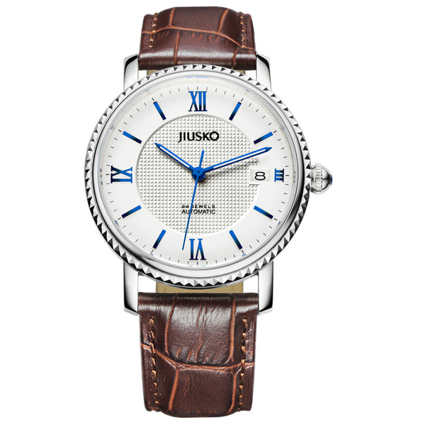 Jiusko Watch,Men's-Dress-Fashion-Automatic-Leather-50m-140M0107