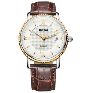 Jiusko Watch,Men's-Dress-Fashion-Automatic-Leather-50m-140MRG0107