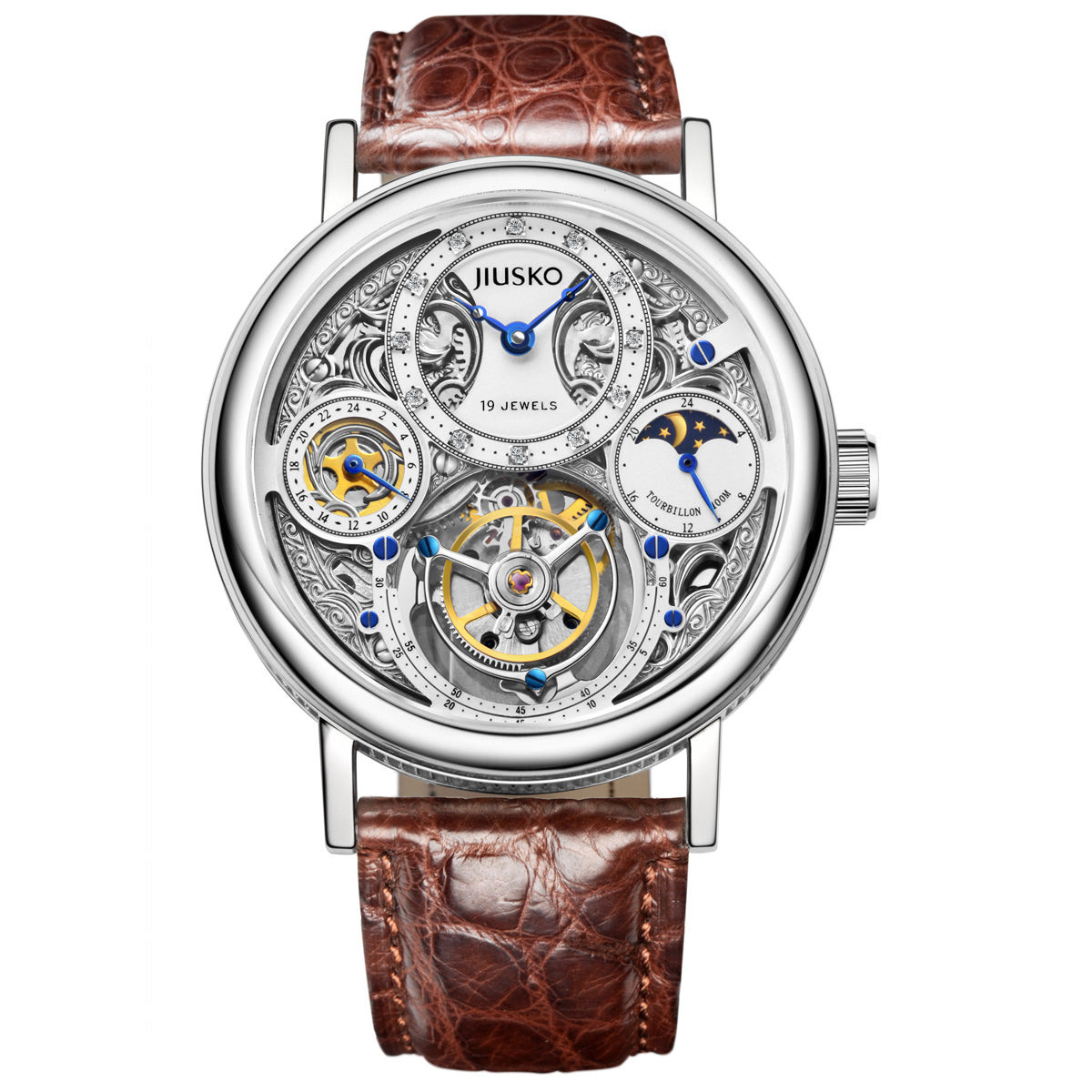 JIUSKO Men's Mechanical Hand-wind Tourbillon Wristwatch with Genuine Diamond Hour Markers and Sapphire Crystals and Brown Alligator Strap